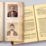"Hume's mugbook included stage robbers George Rugg, Ephraim White, and William Barber — shown with and without his hat; an inside look at the ""Robbers Record"" from 1885."