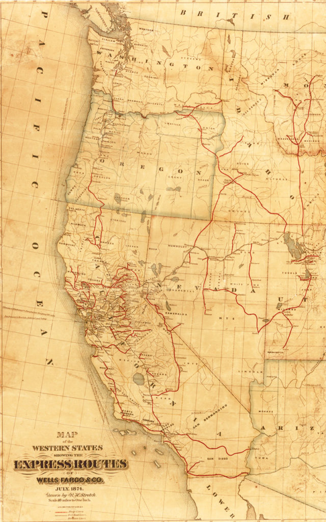 The red lines on this map from 1874 illustrate Wells Fargo's stagecoach routes. Wells Fargo hired Langdon and others to carry its treasure box on their stagecoaches.