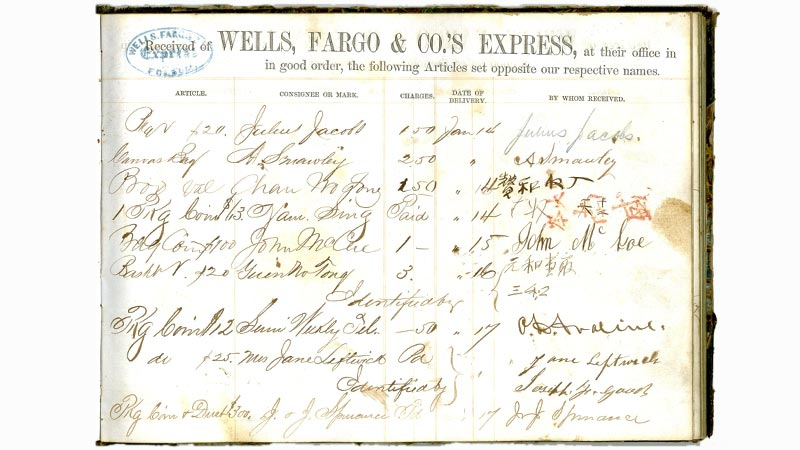 Chinese customers signed their names in this book to confirm they received their deliveries of coins and other packages at the Wells Fargo office in Folsom, California, in the 1860s. New customers needed to be identified by someone familiar to the agent to protect against identity theft. Photo Credit: Wells Fargo Corporate Archives