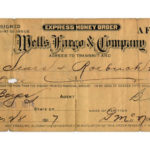 A 1917 money order for a purchase from a catalog. When stores received a Wells Fargo money order as payment, they knew to send the package to the customer by Wells Fargo's express services. Photo Credit: Wells Fargo Corporate Archives