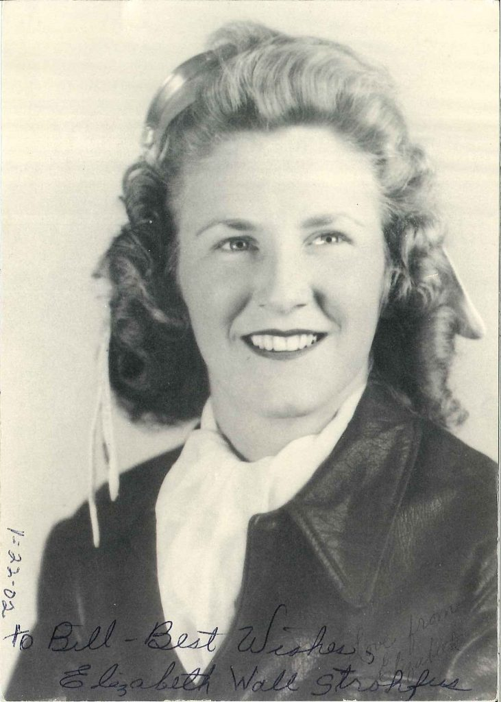 "Elizabeth ""Betty"" Wall in her leather flight jacket, 1940s."