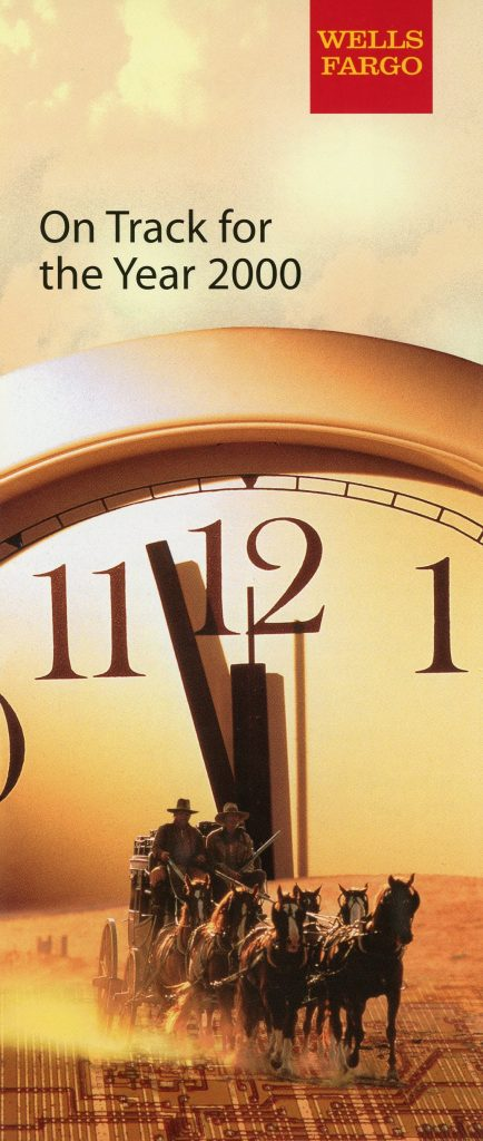 A clock is featured with: Dec. 31, 1999; 11:59:59; 2000, and 12:00, on it.