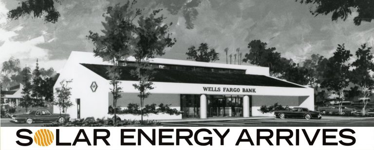 Illustration of a Wells Fargo branch building. Solar panels are visible on a canopy.