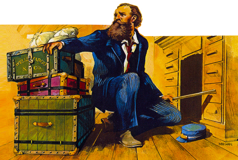 An illustration shows a man in a blue suit kneeling beside three boxes with several bags of money resting on them. The man's blue hat is beside him on the floor, and he has a gun in his left hand as he looks off to the right.