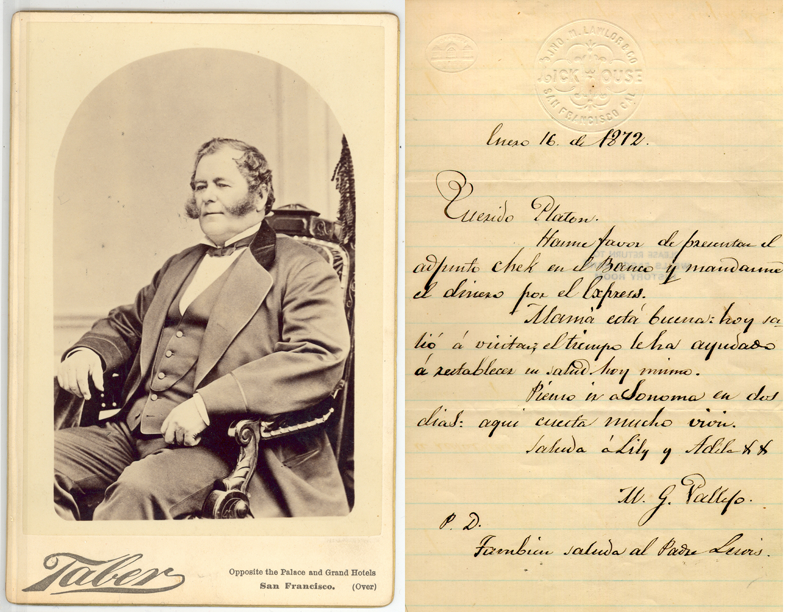 Black-and-white image of Gen. Mariano Vallejo wearing a suit and sitting in a chair. It is next to a handwritten letter in Spanish from 1872.