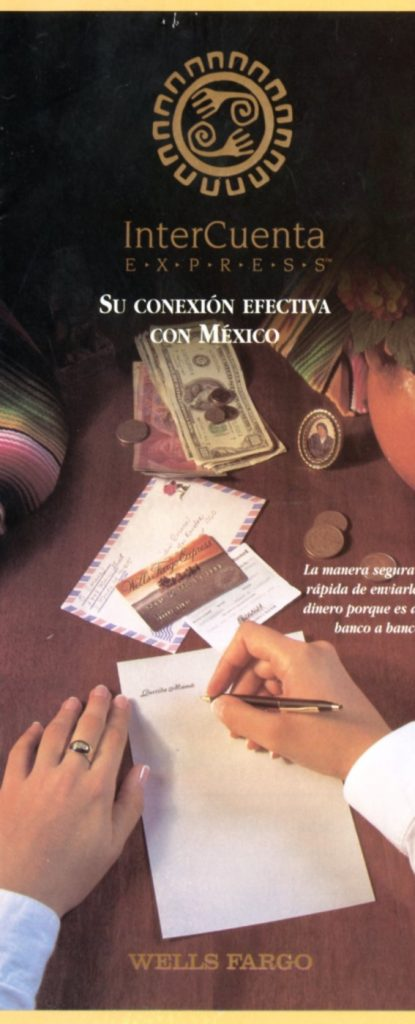 WellsFargo brochure for InterCuenta Express, showing person handwriting a note with various currencies on desk.
